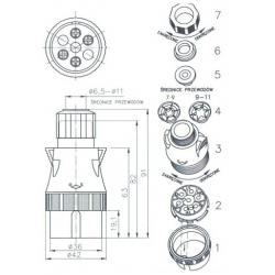 Zástrčka 7 polová PVC